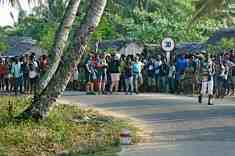 Village road crowded